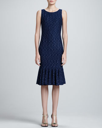 Donegal Tweed Knit Sheath Dress, Marine