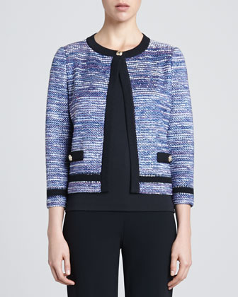 Spliced Cord Tweed Knit Three-quarter Length Sleeve Jacket with Pique Knit ...