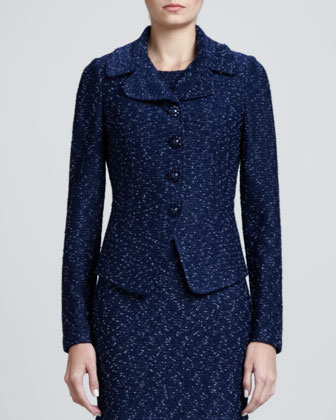Donegal Tweed Fitted Jacket, Marine/Multi