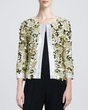 Couture Hand Beade Sequin Jacket, Gold