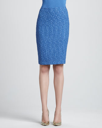 Fleck Tweed Knit Pencil Skirt, Pacific/Multi