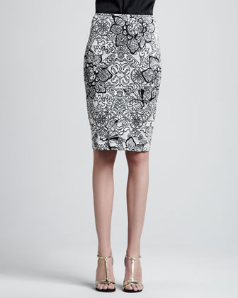 Patterned Pencil Skirt, Caviar/Multi