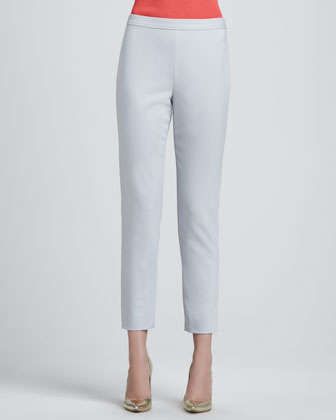 Doubleweave Stretch Cotton Audry Trouser Pants, Oyster