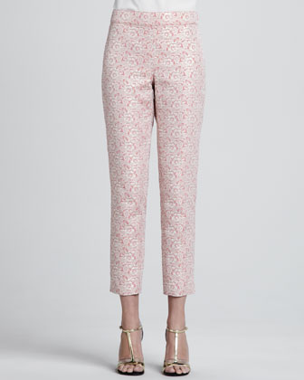 Metallic Jacquard Side Zip Cropped Emma Pants, Flamingo/Multi