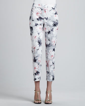Petite Dahlia Print Stretch Cotton Sateen Side Zip Cropped Emma Pants, ...