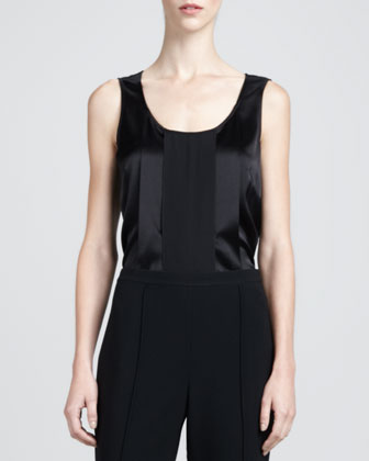 Sleeveless Satin Blouse, Caviar