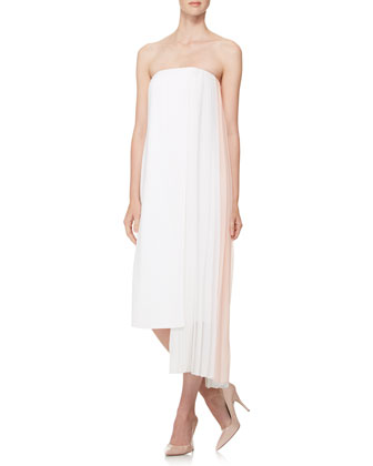 Strapless Pleated-Panel Dress, White/Pink