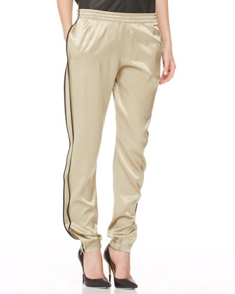 Pleated Silk-Inset Leather Top & Silk Track Pants