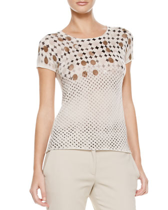 Daisy & Polka-Dot Tee, Cream/Brown