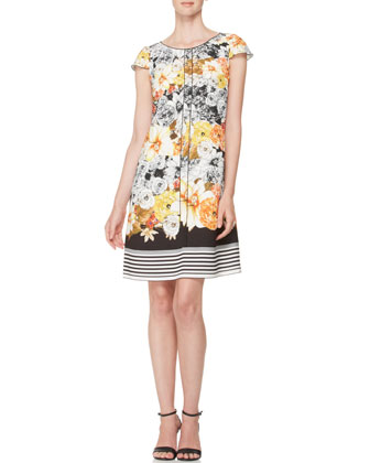 Floral Dress with Striped Hem, Yellow/Black