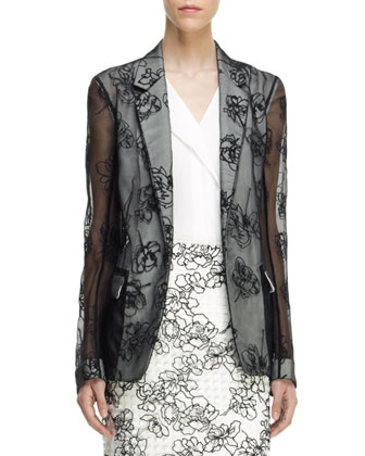 Embroidered Sheer Gauze Jacket, Sleeveless Front-Fold Shirt & Embroidered ...