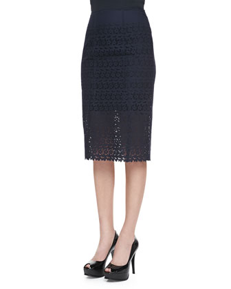 Eyelet Pencil Skirt, Navy