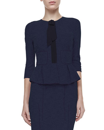 3/4-Sleeve Peplum Tweed Jacket, Navy/Black
