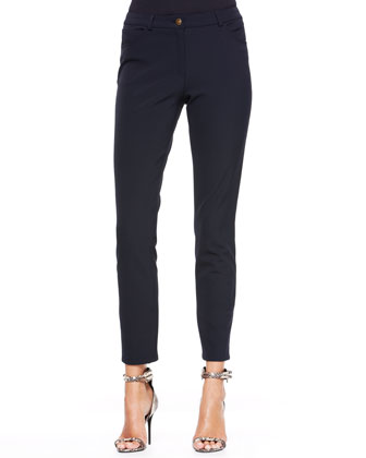 Cropped Twill Pants, Navy