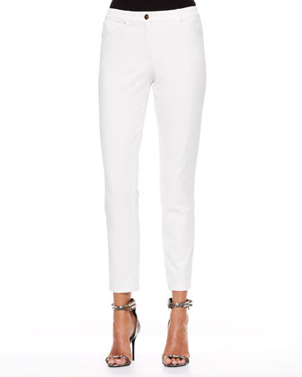 Cropped Twill Pants, Off White