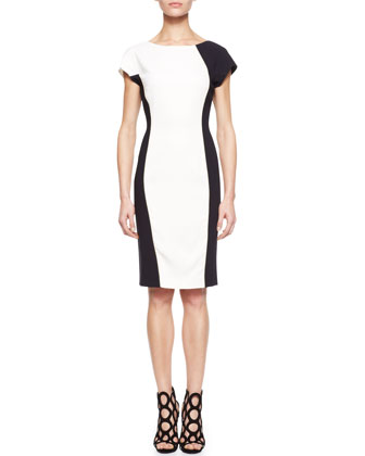 Colorblock Crepe Dress, White/Black