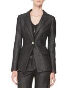 Raffia One-Button Jacket, Black