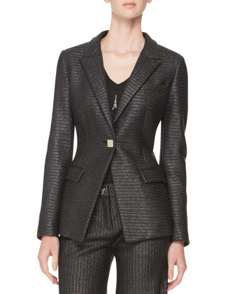 Raffia One-Button Jacket, Black