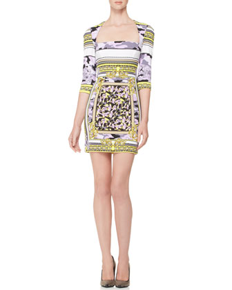 Mixed-Print Portrait-Neck Fitted Dress