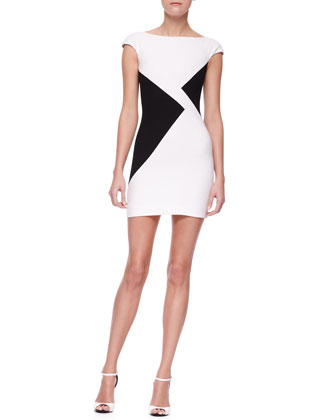 Triangle Colorblock Sheath Minidress, White/Black