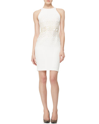 Stud-Embellished Sheath Dress, White