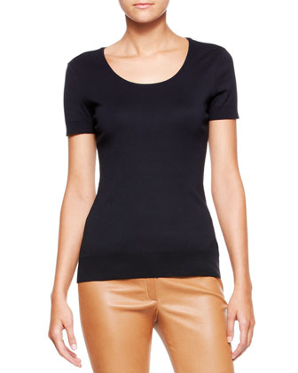Cap-Sleeve Scoop-Neck Tee, Navy