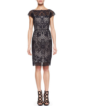 Lace Embroidered-Overlay Dress