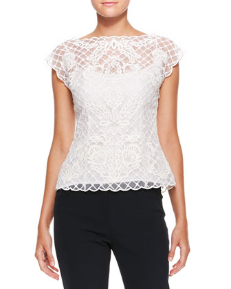 Silk Lace Cap-Sleeve Top, Cream
