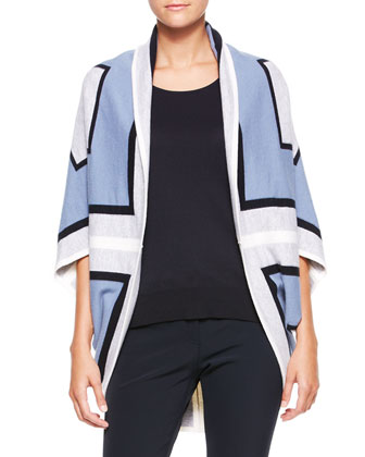 Graphic Cocoon Sweater, Blue/Multi
