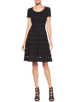 Short-Sleeve Scoop-Neck Dress, Black