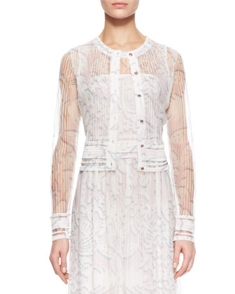 Sheer Knit Lace Cardigan, White/Multi