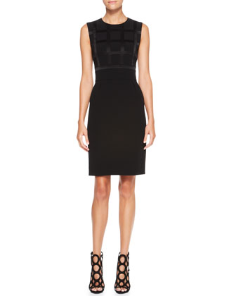 Sleeveless Windowpane Dress, Black