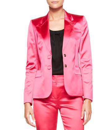 Two-Button Satin Blazer, Blossom