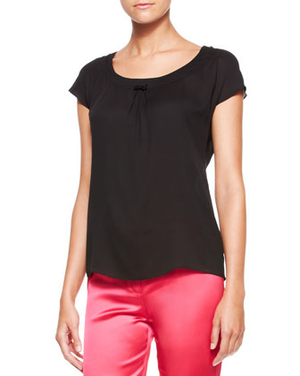 Gathered-Neck Cap-Sleeve Top, Black