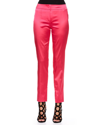 Two-Button Satin Blazer, Pants & Gathered-Neck Cap-Sleeve Top
