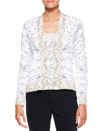 Printed Knit V-Neck Cardigan, Cap-Sleeve Top & Cropped Twill Pants
