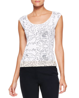 Printed Cap-Sleeve Top, White/Multi