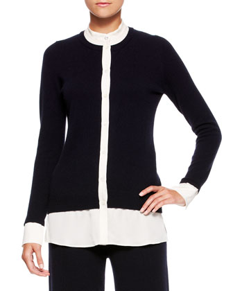 Layered Silk Knit Cardigan, Navy