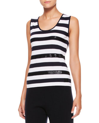 Sequin-Striped Wool-Silk Tank, Navy/White