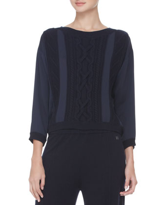 Cable-Detailed Silk Sweater, Navy