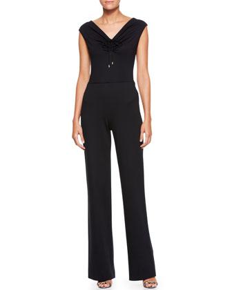 Sleeveless High-Waist Jumpsuit, Black