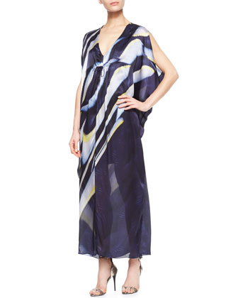 Printed Silk Caftan Maxi Dress, Navy/Multi