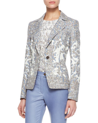 Brocade Cotton Blazer, Cap-Sleeve Stretch Silk Top & Slim Leather Pants