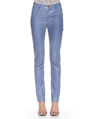 Slim Leather Pants, Sky