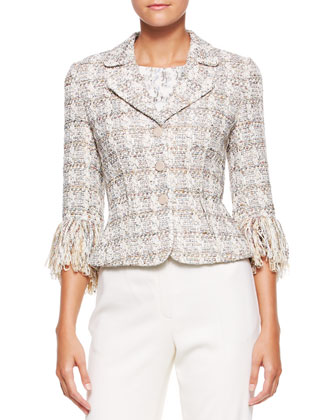 3-Button Fringe-Sleeve Blazer, Cap-Sleeve Stretch Silk Top & Wide-Leg Pants