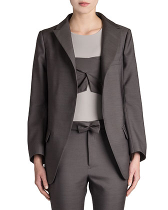 Reagan Long Wool-Silk Blazer, Roi Bandeau-Overlay Top & Rocky Bow-Belt Pants