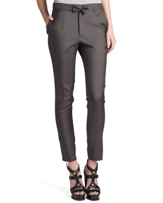 Rocky Bow-Belt Pants, Gray