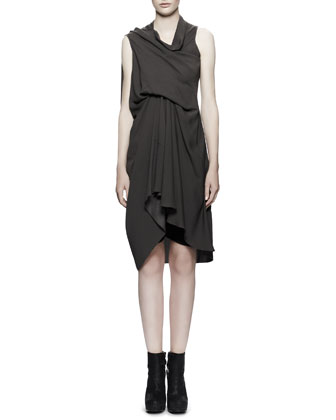 Draped Tornado Dress, Dark Dust Gray