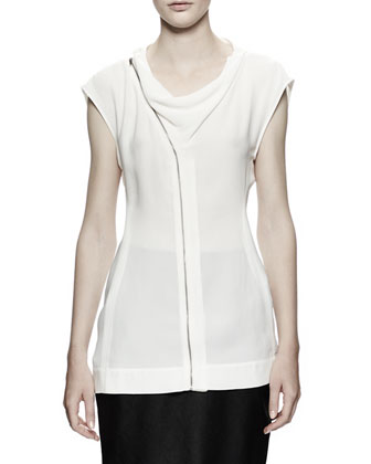 Draped Zip-Front Shell, White