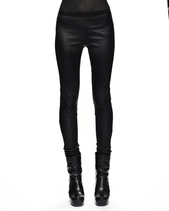 Pull-On Leather Leggings, Black
